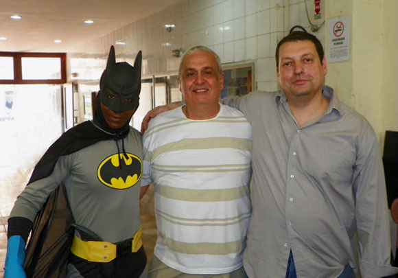 Batman, Mazinho e John Calvet (organizador do evento)