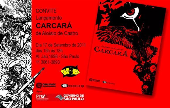 Convite do lançamento de Carcará, de Aloísio de Castro em São Paulo