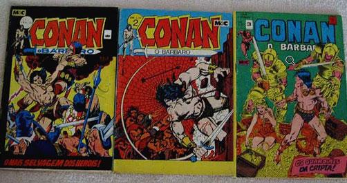 Conan, O Bárbaro 1 ao 3 (Editora Minami e Cunha 1972).