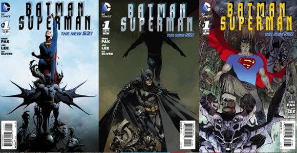 Capas da revista Batman/Superman, em agosto pela DC Comics