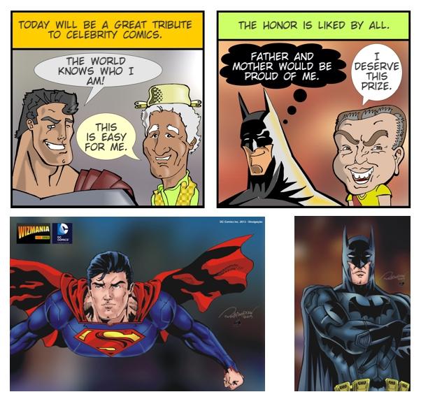 Ilustração de Rodrigodraw de Superman e Batman na publicação