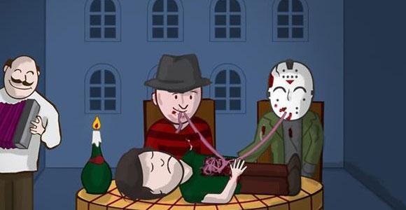 Freddy, Jason, Super Heróis e outros se divertem nas tiras de Rafael Koff