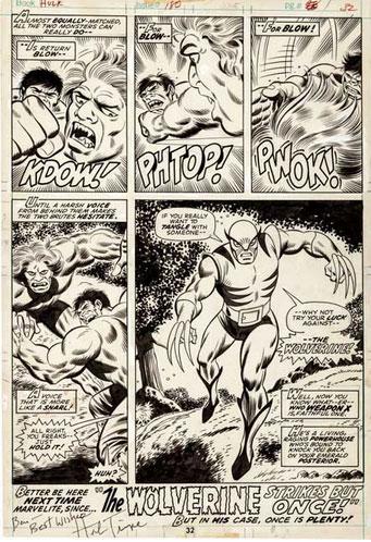 Página original com a estreia de Wolverine
